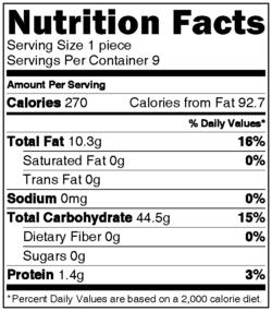 NutritionLabel Browned Butter Flakey Krispie Treats via onlinelabels.com